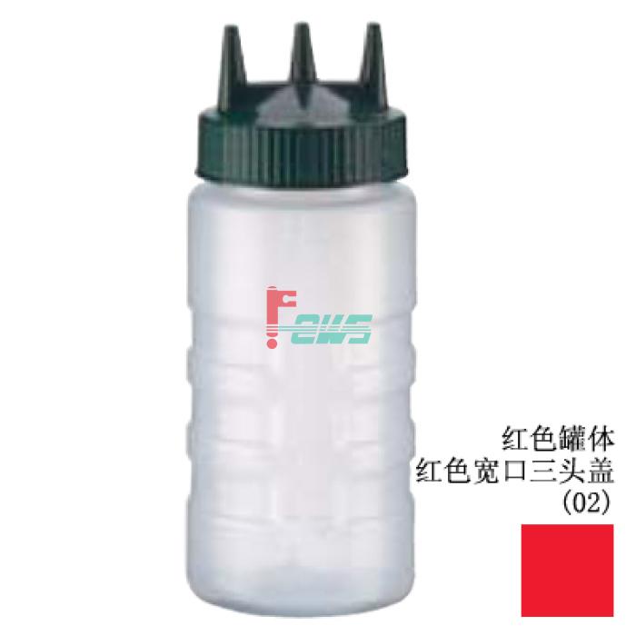 VOLLRATH 3316-02 16oz 宽口三头酱料罐(红色)
